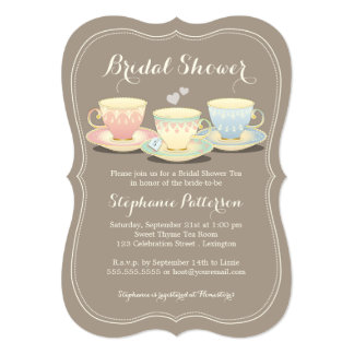 Teacup Trio Chic Bridal Shower Tea Party Card