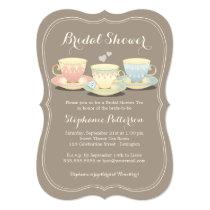 Teacup Trio Chic Bridal Shower Tea Party Invitation