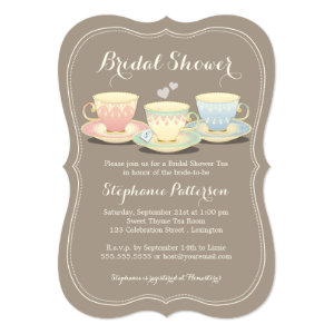 Teacup Trio Chic Bridal Shower Tea Party Personalized Announcements