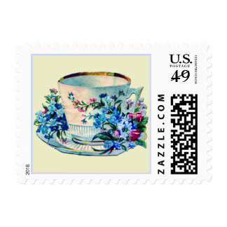 Teacup with Blue Flowers Stamp