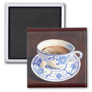 Teacup with Teabag 2 Inch Square Magnet