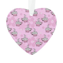 Teacups and Flower Pink Pattern Ornament