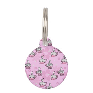 Teacups and Flower Pink Pattern Pet Tag