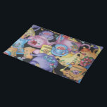 "Teacups and Teapots Placemat<br><div class=""desc"">20"" x 14"" cotton placemat with an image of colorful teacups and teapots on black. See matching paper placemat, kitchen towel, cloth napkin, paper cocktail napkin and coasters. See the entire Wonderland Placemat collection in the FOOD/BEV 