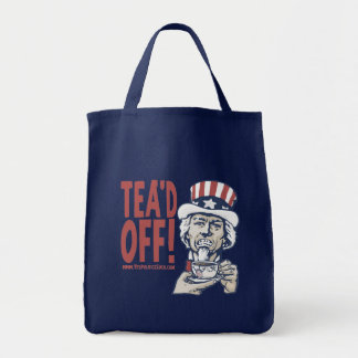 Tea'd Off Uncle Sam by Yes Politics Suck Tote Bag
