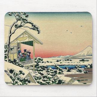 Teahouse after a snowfall by Katsushika Hokusai Mousepads