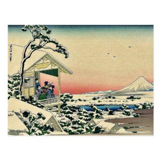 Teahouse,after a snowfall by Katsushika,Hokusai Postcard
