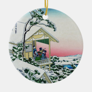 Teahouse at Koishikawa morning after a snowfall Double-Sided Ceramic Round Christmas Ornament