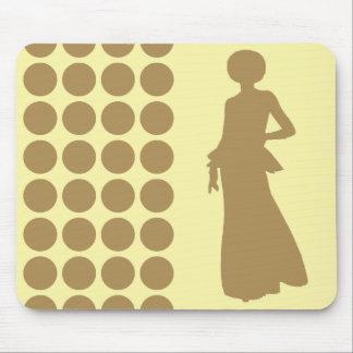 Teak Cream Neutral Dots Fashion Silhouette Mouse Pad