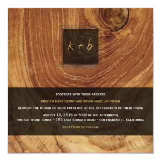 "Teak Wood Grain Wooden Old Rustic Texture Wedding 5.25"" Square Invitation Card"