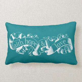Teal 1 Corinthians 13 Faith Hope Love Pillow