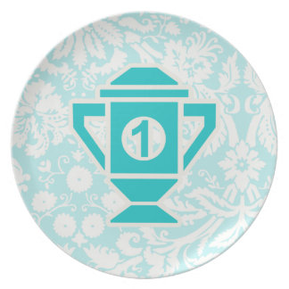 Teal 1st Place Trophy Dinner Plate