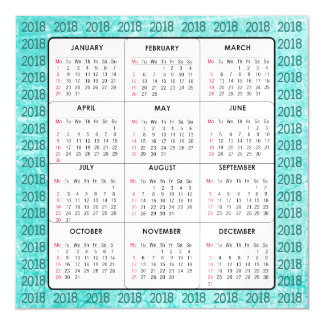 Teal  2018 Calendar Square Magnetic Card