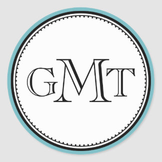 Teal 3 initial letter monogram royal elegance seal classic round sticker