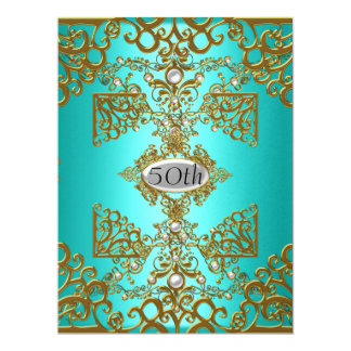 Teal 50th  Birthday Party Card