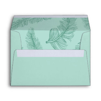 Teal A7 Pre-Addressed Feather Envelopes