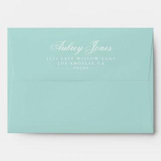 Teal A7 Pre-Addressed Linen Envelopes