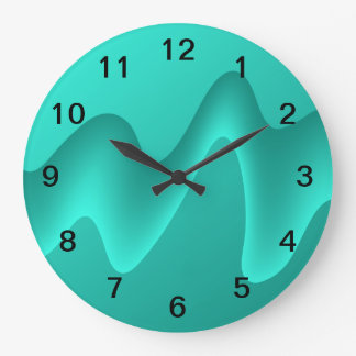 Teal Abstract Design Image. Large Clock