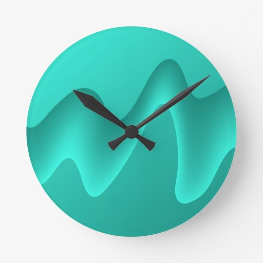 Teal Abstract Design Image. Round Clocks