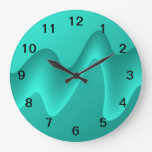 Teal Abstract Design Image. Wall Clock