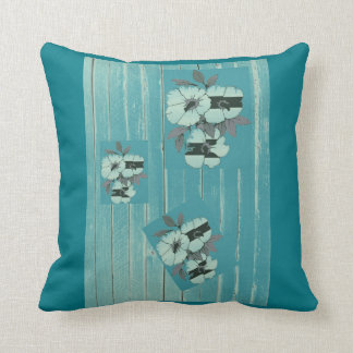 Teal Abstract Flower Cushion Pillow