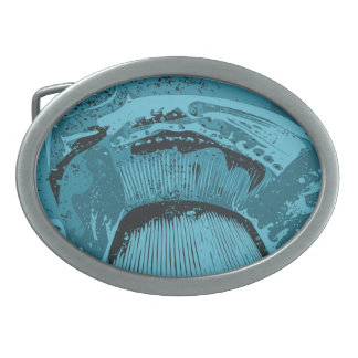 Teal Abstract. Oval Belt Buckle