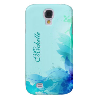 Teal Abstract Pastel Monogram Galaxy S4 Cover