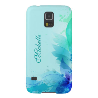 Teal Abstract Pastel Monogram Galaxy S5 Case