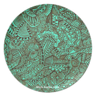 Teal Abstract Plate