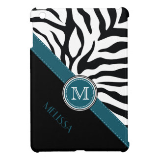 Teal Accent BW Zebra Pattern Monogram and Name iPad Mini Cases