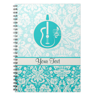Teal Acoustic Guitars Spiral Notebooks