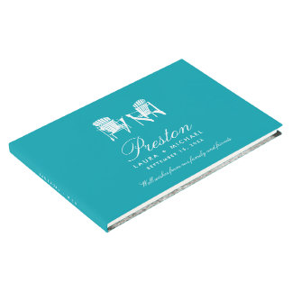 Teal Adirondack Chairs Wedding Guest Book