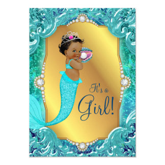Teal African American Mermaid Sea Baby Shower Card