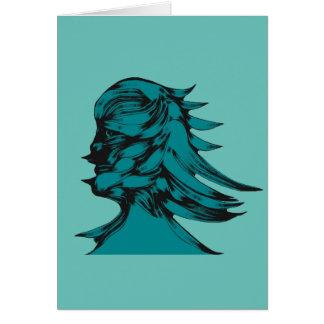 Teal Alien Man Card