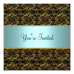 Teal All Occasion Black Damask Party Template Invi Personalized Announcements