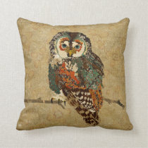 Teal Amber Owl Mojo Pillow