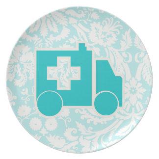 Teal Ambulance Dinner Plate