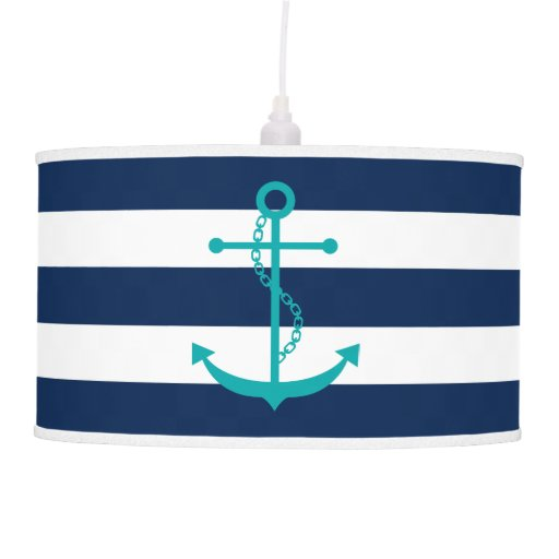 Teal Anchor on Navy Blue Stripes Pendant Lamp