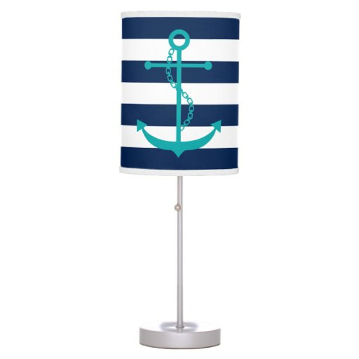Teal Anchor on Navy Blue Stripes Table Lamp
