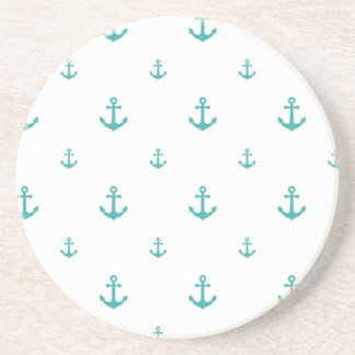 Teal Anchors Drink Coaster