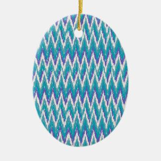 Teal and Amethyst iKat ZigZag pattern Ceramic Ornament