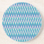 Teal and Amethyst iKat ZigZag pattern Drink Coaster