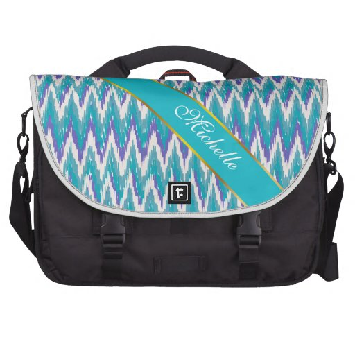 Teal and Amethyst iKat ZigZag pattern Commuter Bag