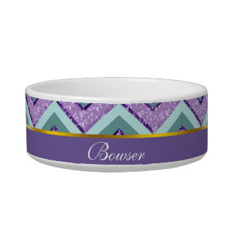 Teal and Amethyst ZigZag Bowl
