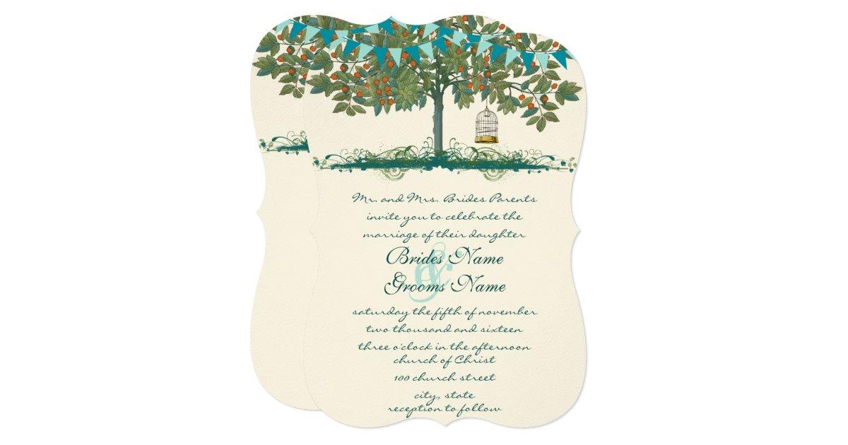 Teal and Aqua Bunting Tree Birdcage Wedding
