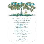 "Teal and Aqua Bunting Tree Birdcage Wedding Invite 5"" X 7"" Invitation Card"