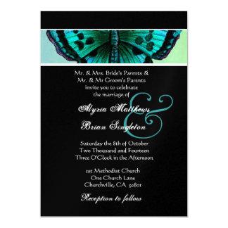 Teal and Aqua Vintage Butterfly Wedding Metallic Card