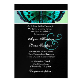 Teal and Aqua Vintage Butterfly Wedding Metallic Personalized Invite