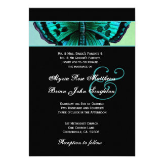 Teal and Aqua Vintage Butterfly Wedding V3 Personalized Invites