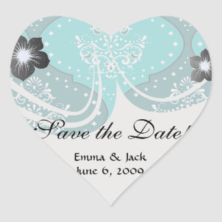 teal and aqua white henna style damask heart sticker